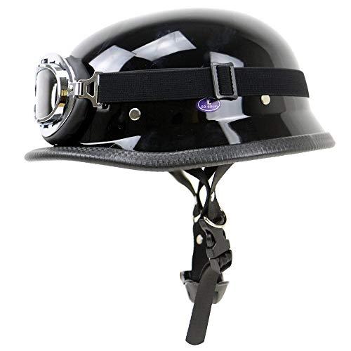 DKZK Half Face Jet Helm - Chopper Motorradhelm Retro Scooter Scooter Helme, Halb Helm Harley Lokomotive Helm AußEnreitschutz Helm DOT-Zertifizierung Mit Brille