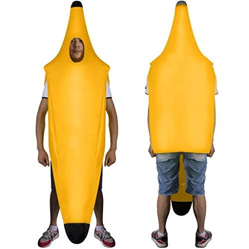 Battnot Herren Damen Bühnenkleidung Banane Lustig, Unisex Männer Frauen Interessant Hochzeit Bar Party Karneval Jumpsuit Overall Onesie Strampler Womens Mens Funny Banana Cosplay Clothing Gelb