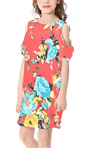 lumenkleid mit Schulter-Cut-Outs Casual Sommer Kleider Red XL ()