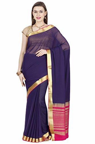 arars mysore silk sarees shiffon creape ( CRP01 NAVY BLUE )