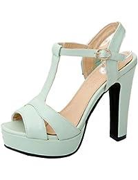 Coolcept Zapato Mujer Moda Peep Toe Tacon Alto Correa EN T Enjoyable Plataforma Bombas Zapatos Sandalias Zapato