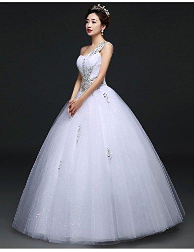 Beauty-Emily Eine Schulter-Ballkleid Perlen süße Promkleider Weiß