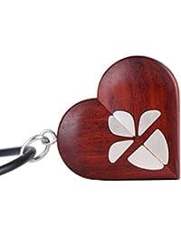 LMWood medallón de ilusionista, collar de medallón hecho a mano, medallón de imagen