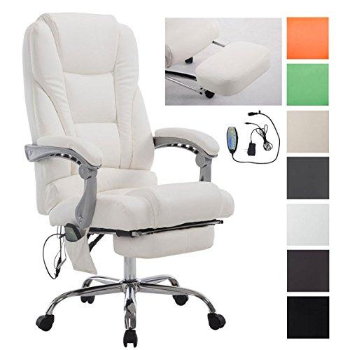 CLP Bürostuhl / Chefsessel PACIFIC mit Massage-Funktion, max. Belastbarkeit 150 kg, Relax-Sessel mit Fußablage (ausziehbar), höhenverstellbar 47 - 56 cm Weiß