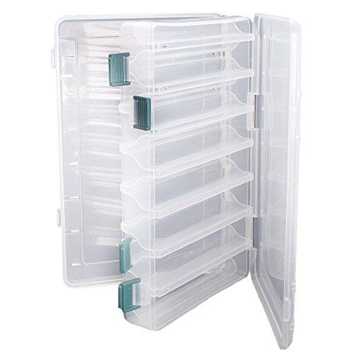 Doble cara pesca señuelos caja topind visible plástico transparente pesca cebo ganchos cajas puntas para tornillos de terminal tackle claro caja de almacenamiento organizador caso 14compartimentos con drenaje Agujero Pesca Accesorios