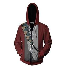 Sudaderas con Capucha para Hombres Moda Zip 3D Imprimir Suéter De Cosplay para Hombres para Nueva Samurai Champloo Mugen Chaqueta Sudaderas Unisex,S