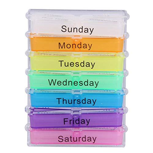 wxrsxx Aufbewahrungsbox Colorul Design Medizin Wöchentliche Lagerung Pille 7 Tage Tablet Sorter Box Container Fall Organizer Pille Organizer Boxen7,50 * 10,50 * 4,50 cm (Pille Sorter Box)