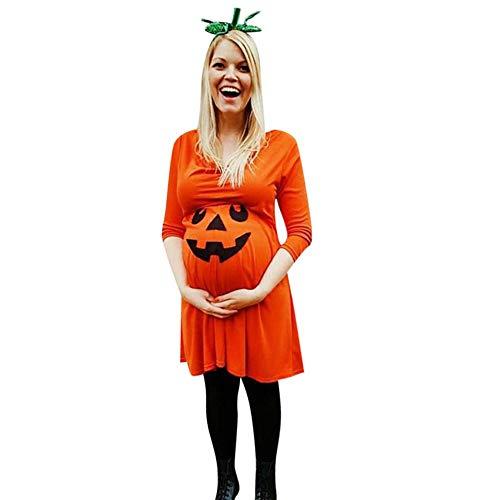 RYTEJFES Halloween Kostüm Damen Kleid Kürbis Schwangere Frauen Kleidung Casual Little Devil Print Langarm-Kleid Kürbis Kostüm Kleid Maske Kostüm