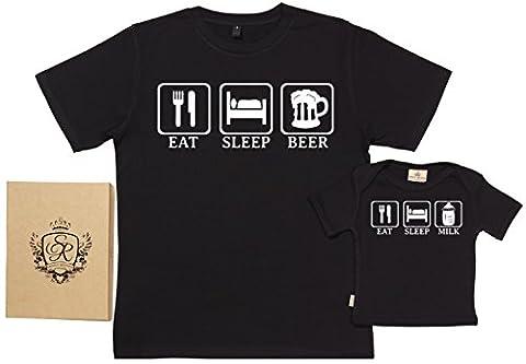 SR - Eat, Sleep, Drink - Ensemble de T-shirts pour Père et bébé - L & 18-24 mois