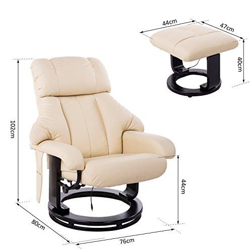 Homcom Massagesessel 700-008CW mit Heizfunktion inkl. Hocker Creme - 5
