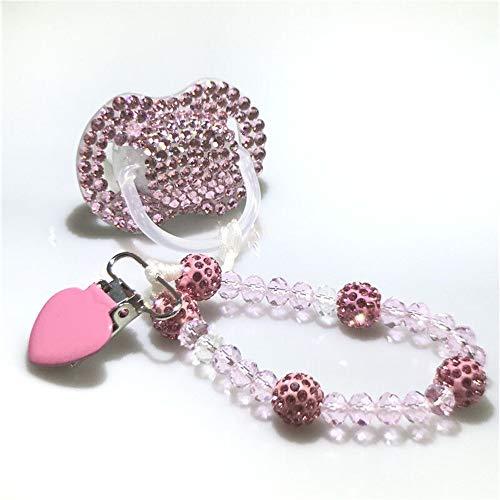 Dollbling benutzerdefinierte einzigartige Sparkle Strass/weiße Perlen Kristalle Baby Schnuller, 1PC (Rosa+Clip)