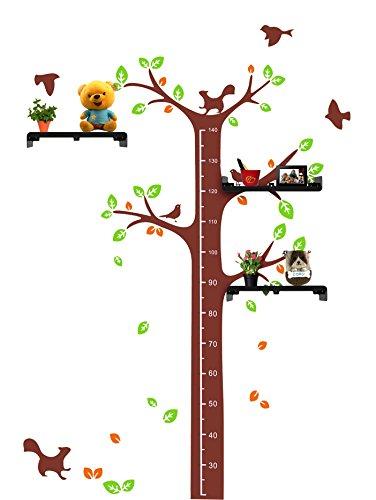 Adesivo da parete con albero e 3 mensole per misurare altezza