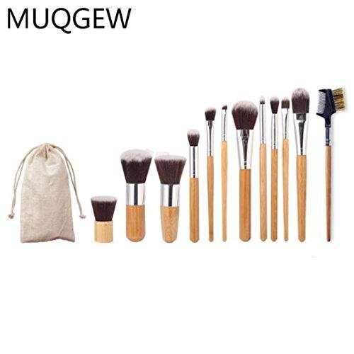 MuSheng(TM ) 11 de tiges de bambou de la poignée de brosse de maquillage + 1 de support de tête inclinée de la brosse de maquillage, un sac de toile