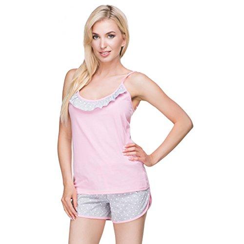 Alkato Damen Pyjama Shorty Set 2-teilig Schlafanzug Kurz Nachtwäsche Spaghettiträger-Top & Shorts Weiße Tupfen Grau/Rosa
