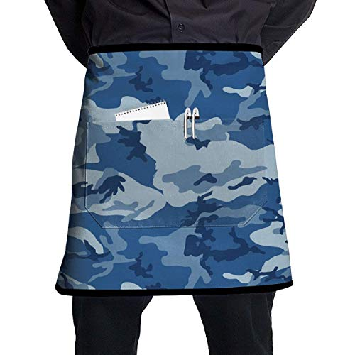 MSGDF Soft Durable 100% Polyester Waterproof Kitchen Bib Apron Pockets Waist Apron Kitchen Cooking Restaurant Bistro Half Aprons for Men Woman - Sea Blue Army Camouflage 3D Print Childrens Place Blue Jean