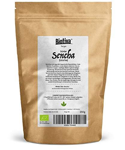 Bio Sencha Grüntee (250g, Bio) I Top Japan-Style Sencha zum Spitzenpreis I Vorratspackung für 100 Tassen I Mild, leicht grasig, dabei feinherb und blumig I Fairbiotea-Zertifikat I Abgepackt und kontrolliert