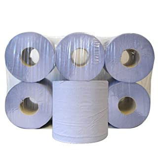 Blue Rolls 6 Pack 2 Ply Embossed Centre Feed Paper Wipe Rolls 110m Rolls