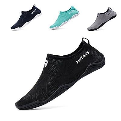 hiitave Men Women's Quick Dry Barefoot Water Shoes Slip On Beach Sport Aqua Socks
