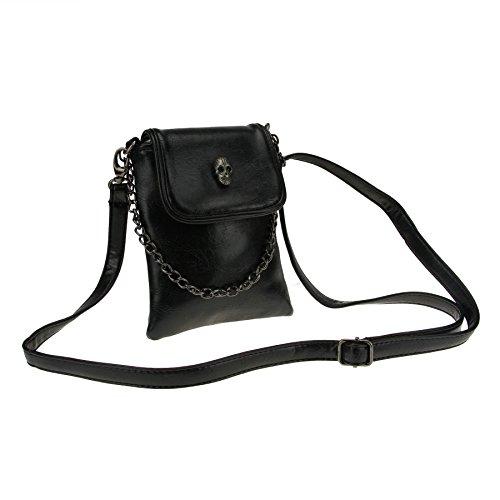 FakeFace Damen PU Leder Schultertasche Umhängetasche Clutch Handtasche Henkeltasche mit Totenkopf Handytasche Handbag Crossbody Bag Geschenk für Damen Mädchen (Schwarz)