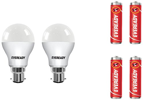 Eveready B22 Base 12-Watt LED Bulb (Pack of 2, Cool Day Light) with Free 4 1015 AA carbon zinc batteries