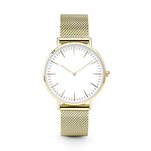 JiaMeng Reloj con Movimiento Cuarzo japonés de Pulsera de Cuarzo analógico de Lujo de los Hombres de Las Mujeres de Acero Inoxidable (Oro)
