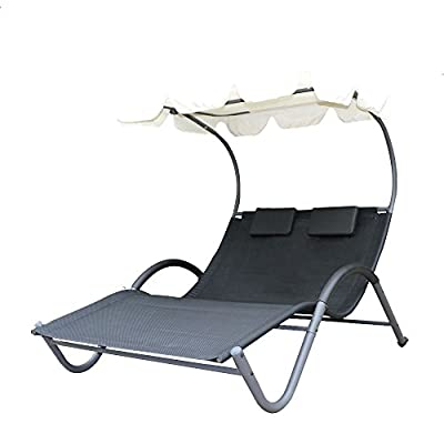 Festnight Double Sun Bed Lounger Outdoor Chaise Chair with Canopy Hammock
