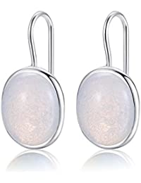Natürliche ovale klare Mondstein Tropfen Ohrringe massiv 925 Sterling Silber Haken MetJakt Ohrring Opal für Frauen edlen Schmuck (Mondstein)