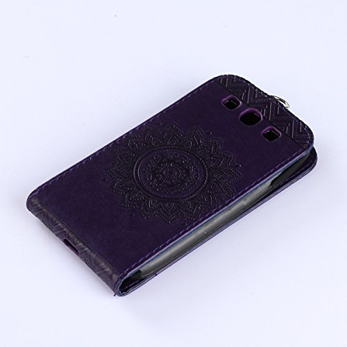 Felfy Coque Etui pour Samsung Galaxy S3,Galaxy S3 Neo Coque Dragonne Portefeuille PU Cuir Etui,Galaxy S3o Etui Cuir Folio Housse Rouge Tournesol 3D en Relief Motif Leather Case Wallet Flip Protective  Flip Violet