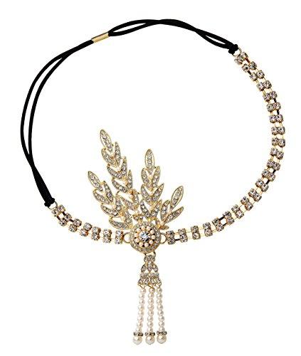 Babeyond® Damen Stirnband Art Deco 1920 Stil Flapper Stirnband Great Gatsby Accessoires Haarband Blatt Medaillon Perle Kopfstück Stirnband (Flapper Mode 1920)