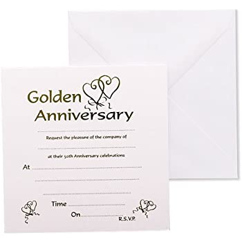 Golden Wedding Anniversary Invitations AmazonCoUk Kitchen  Home