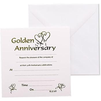 Golden Wedding Anniversary Invitations AmazonCoUk Kitchen  Home