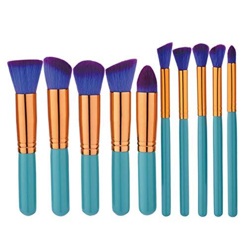 Dosige 10 pcs Set Multifonctionnel Pinceaux Professionnel Pinceaux de Maquillage Yeux Brosse de Brush Cosmétique Professionnel - Bleu Clair