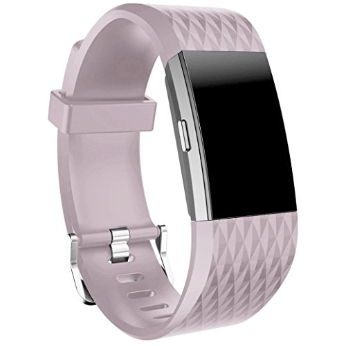 Fitbit Charge 2 Armband, OverDose Neue Art und Weise Sport-Silikon-Armband-Bügel-Band für Fitbit Charge 2 (Lila(Rhombus-Muster)-L:170-230mm)