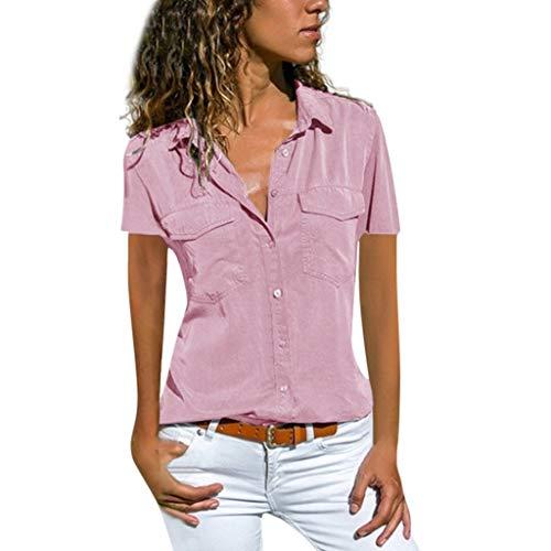 Momoxi 2019 Sommer Frauen Causal feste kurze Hülse drehen unten Kragen-Taschen Knopf-Hemd-Oberseiten um,Tank Trägertop T-shirt Bluse Für Damen Hellrosa 5XL - Kette-kragen-shirt