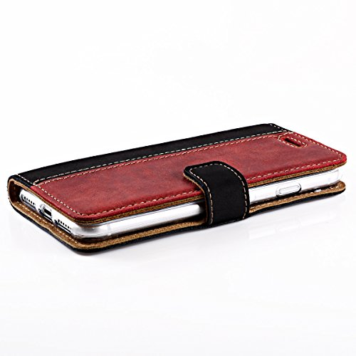 Apple iPhone 7 Plus Premium Zwei Farben Ledertasche Schutzhülle Wallet Case aus Nubukleder mit Kreditkarten / Notizen Fachern und Veloursleder - ( Schwarz-Beige ) von Surazo® Two Tone Kollektion für i Schwarz-Rot