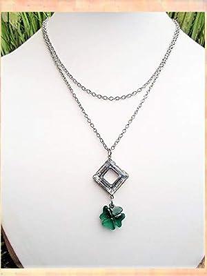 Pendentif carré et cristal, trèfle vert émeraude, bijoux Swarovski