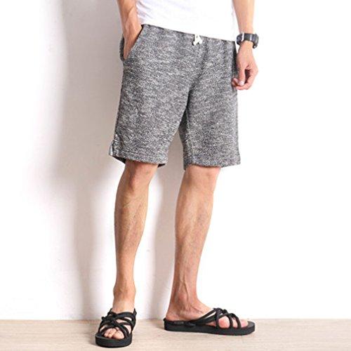 Honghu Uomo Sciolto Flat Front Vita Elastica Casual Pantaloncini Dark Gray