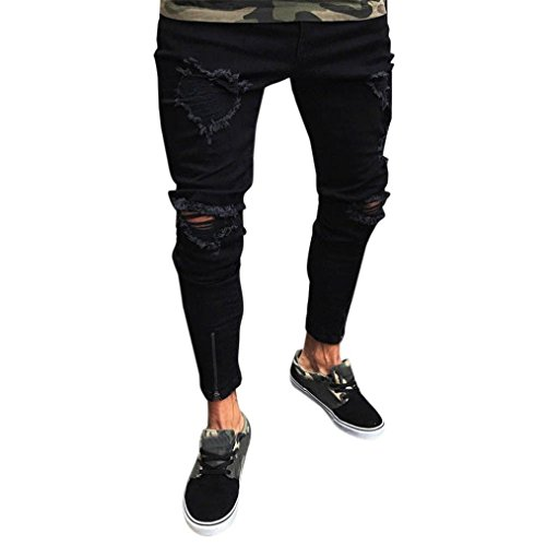 MCYs Men's Loose Fit Jeans Stretch Breathable Casual Trousers New Denim with Free Belt Hole Zipper Men Slim Biker Skinny Frayed Pants Distressed Rip