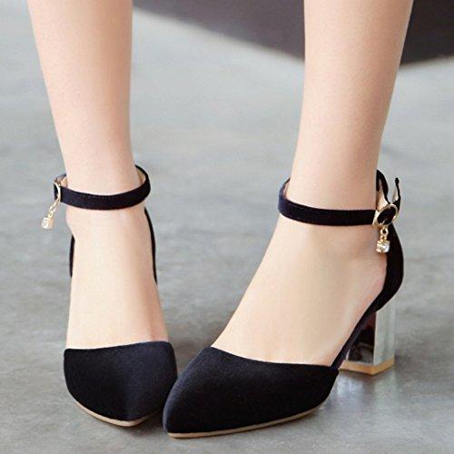 TAOFFEN Femmes Chaussures Mode Bloc Talon Moyen Escarpins Sangle De Cheville Noir