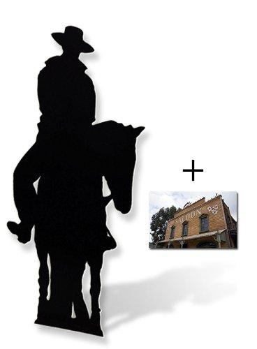 Cowboy auf einem Pferd- Silhouette Lebensgrosse Pappaufsteller mit 25cm x 20cm foto