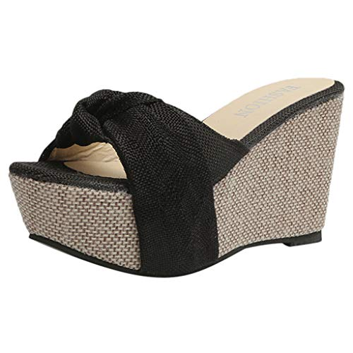 Moonuy Frauen Casual Keil Sommer Slip-On High Heel Plattform Peep Toe Sommer Gummi Mode Neue Rom Leinwand Soild Schuhe Bogen Sandalen (Leinwand Keil Sandale Neue Damen)