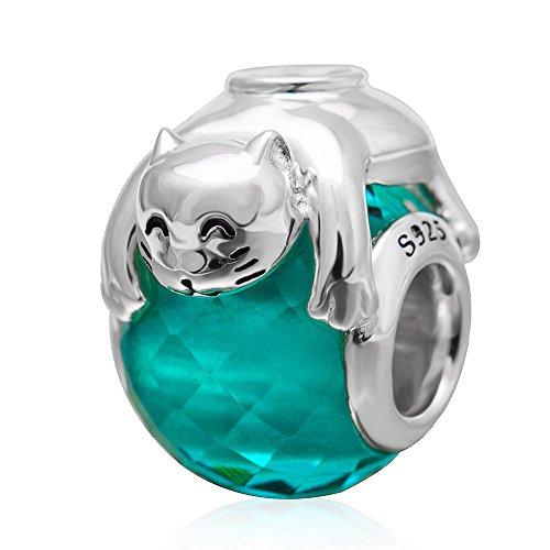 Lucky Cat Glas Charms massiv 925Sterling Silber Tiere Charm Murano Glas Perlen für Weihnachten Geschenk