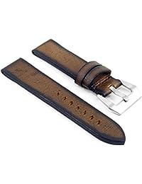 DASSARI Riviera de grosor–Correa para reloj de piel italiana para Panerai en marrón 18mm
