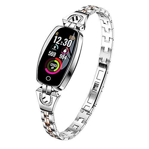 C-Xka Intelligente Uhren, HD-Bildschirm-Blutdruck/Herzfrequenz/Schlaf-Monitor der Frauen Intelligente Armbanduhr-Pedometer-Sport-Fitness-Verfolger für iPhone-Android-Telefon (Farbe : Silber)