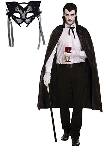 Damen Halloween schwarze Katze Maske mit Filz und Spitze & Cape Fancy Dress Outfit (Fancy Katze Dress Halloween)