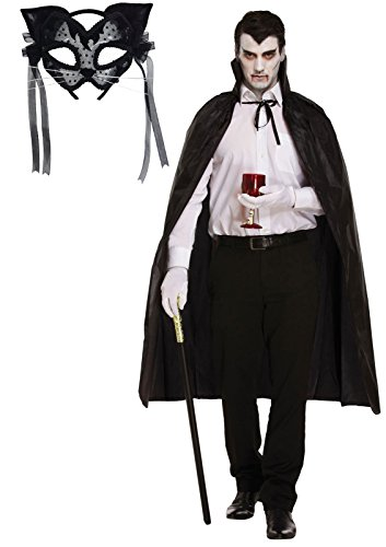 Damen Halloween schwarze Katze Maske mit Filz und Spitze & Cape Fancy Dress Outfit