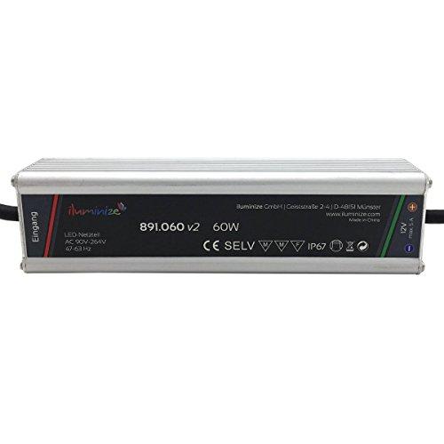 iluminize LED-Netzteil: hochwertiges & leistungsstarkes LED-Netzteil Aluminium 12V, 60W, IP67, laststabil, Anschlusskabel 35cm ohne Stecker (12V 60W)