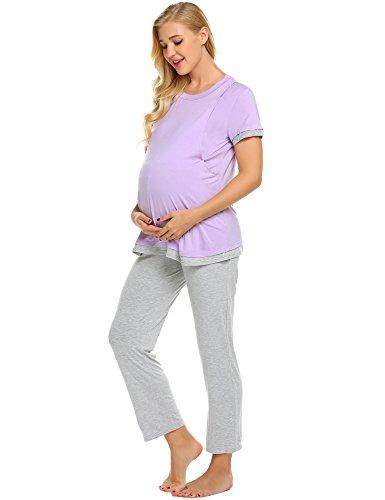 Lucyme Damen Lang Stillpyjama Stillnachthemd Schlafanzug für Schwangere Umstandsmode