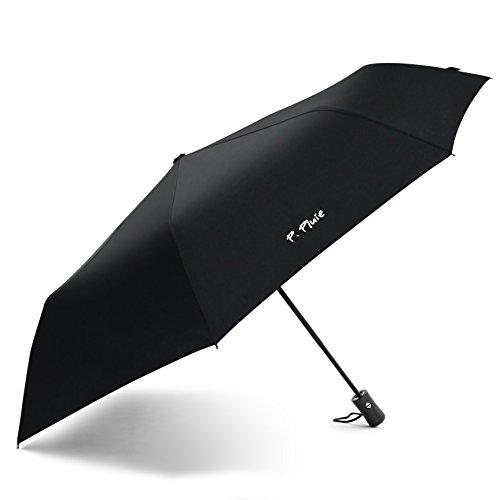 Original P. PLUIE Regenschirm Fiber Windfest Stabil Taschenschirm Automatik Auto Open & Close 95 cm Spannweite Elegant Schwarz Designschirm Qualitätsschirm Reiseschirm Leicht Geschenk