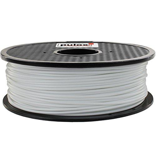 Pulox 3D Drucker Filament Rolle 0,5kg passend für MakerBot RepRap MakerGear Ultimaker uvm. (TPE 3.0, Weiß)